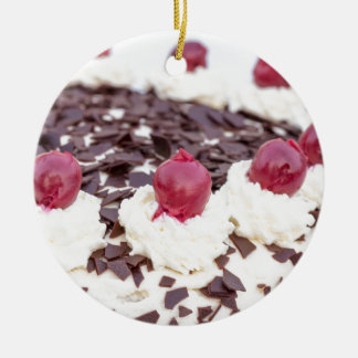 Black Forest cake in detail with white background Ceramic Ornament