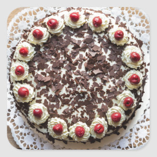 Black Forest cake on rustic wood Square Sticker