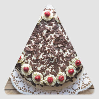 Black Forest cake on rustic wood Triangle Sticker
