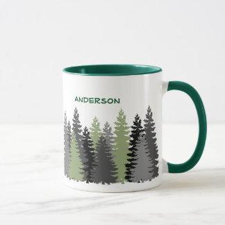 Black Forest Pine Tree Woods Custom Text Mug