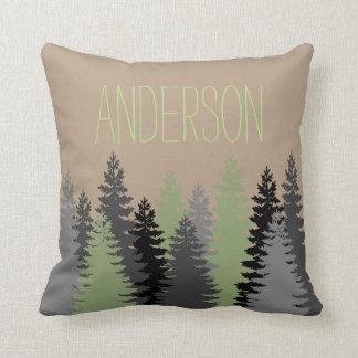 Black Forest Woods Pine Tree Custom Name Cushion