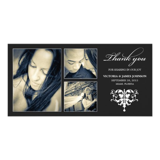 BLACK FORMAL COLLAGE | WEDDING THANK YOU CARD CUSTOMIZED PHOTO CARD