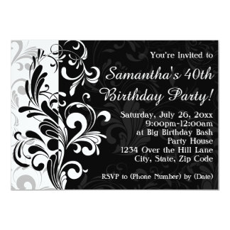 Black Fountain Swirl Birthday Party 11 Cm X 16 Cm Invitation Card