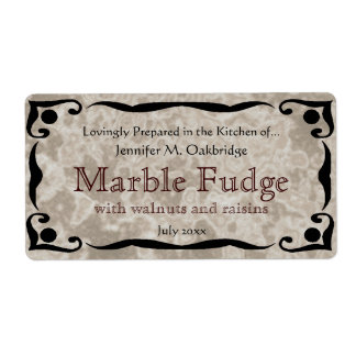 Black Frame and Marble Brown Label Template Shipping Label