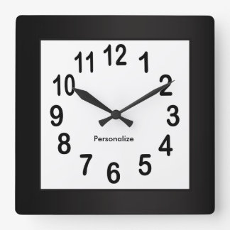 Black Frame and Numbers | DIY Background Color Square Wall Clock