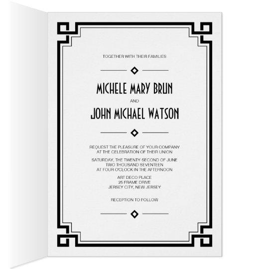Black Frame Art Deco Photo Wedding Fold Invite Card