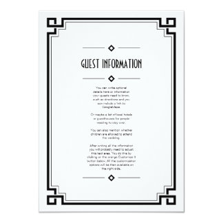 Black Frame Art Deco White Wedding Insert Card 11 Cm X 16 Cm Invitation Card