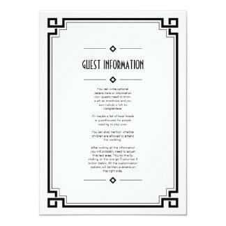 Black Frame Art Deco White Wedding Insert Card 11 Cm X 16 Cm Invitation Card