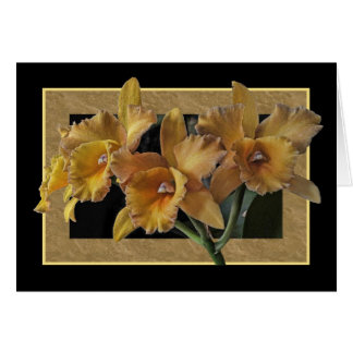 Black Framed Yellow Orchids Card
