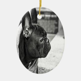 Black French Bulldog Ceramic Ornament