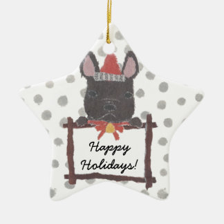 Black French Bulldog, Frenchie Holidays, Christmas Ceramic Ornament