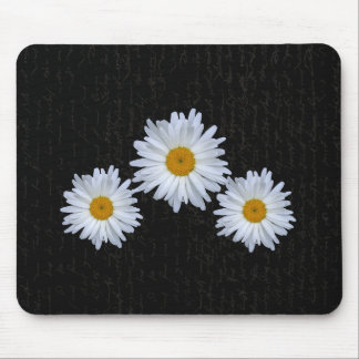 Black French Script And Daisy's- Mousepad