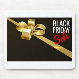 Black Friday Sale Gold Ribbon Gift Bow Design Mouse Pad
