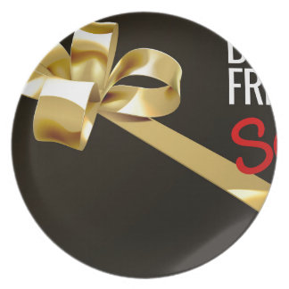 Black Friday Sale Gold Ribbon Gift Bow Design Plate