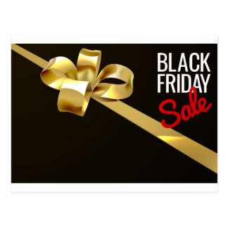 Black Friday Sale Gold Ribbon Gift Bow Design Postcard