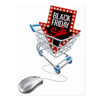 Black Friday Sale Online Trolley Computer Mouse Postcard