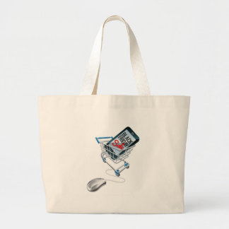 Black Friday Sale Phone Trolley Mouse Sign Large Tote Bag
