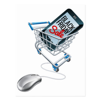 Black Friday Sale Phone Trolley Mouse Sign Postcard