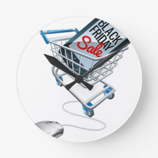 Black Friday Sale Phone Trolley Mouse Sign Round Clock