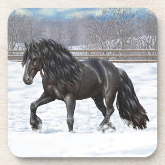 Black Friesian Draft Horse Coaster
