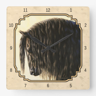 Black Friesian Horse Beige Wall Clocks