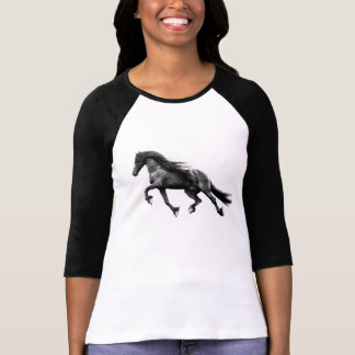 Black friesian stallion - friese horse T-shirt