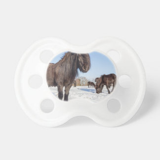 Black frisian horses in winter snow baby pacifier