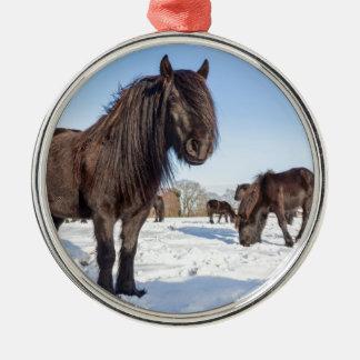 Black frisian horses in winter snow metal ornament