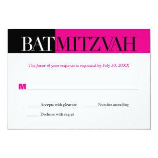 Black Fuchsia Block Bat Mitzvah Reply RSVP Card