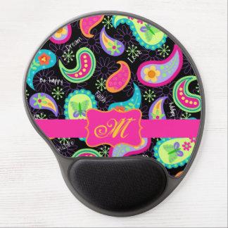 Black Fuchsia Pink Modern Paisley Monogram Gel Mouse Pad