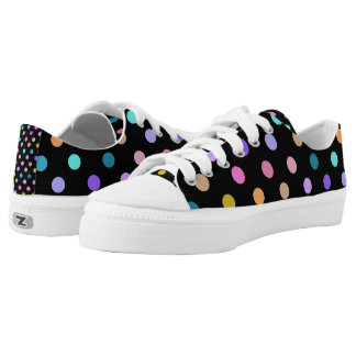 Black fun colorful polka dots rainbow low top shoe
