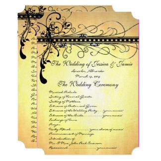 Black Funky Elegant Swirls Wedding Program