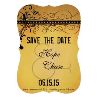 Black Funky Elegant Swirls Wedding Save the Date Personalized Invitation