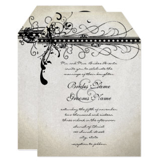 Black Funky Textured Elegant Swirls Invitations