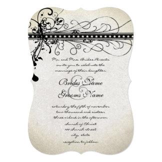Black Funky Textured Elegant Swirls Invitations