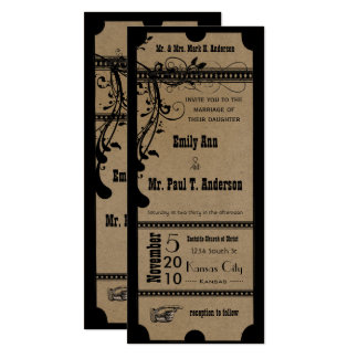 Black Funky Textured Playbill Swirls Wedding 10 Cm X 24 Cm Invitation Card