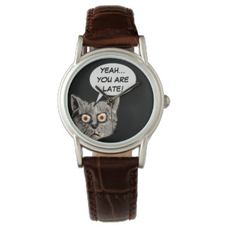 black funny cat speech balloon watch