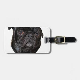Black Funny Pug Luggage Tag