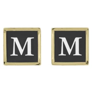 Black Garmond Bold Gold Finish Cufflinks
