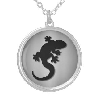 Black gecko silver plated necklace