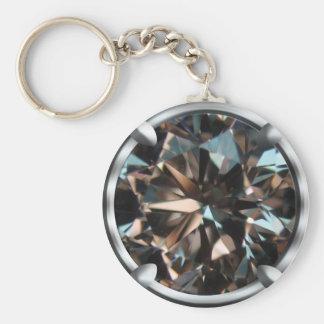 Black Gem Design Basic Round Button Key Ring