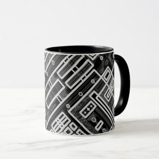 Black Geometric Circuit Board Mug