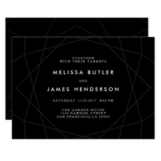 Black Geometric Diamond Lines Wedding Card