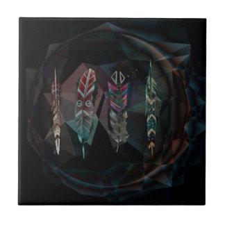 Black Geometric Feathers Tile