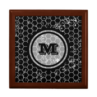 Black Geometric Monogram Large Square Gift Box