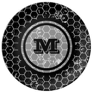Black Geometric Monogram Porcelain Plates