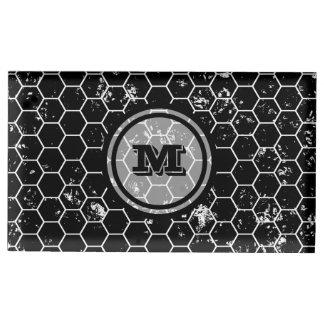 Black Geometric Monogram Table Card Holder