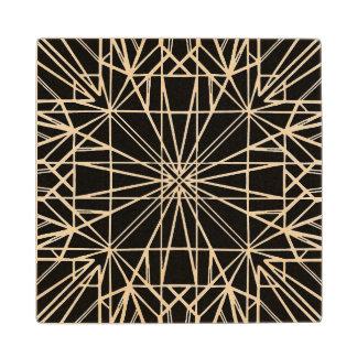 Black Geometric Symmetry Wood Coaster
