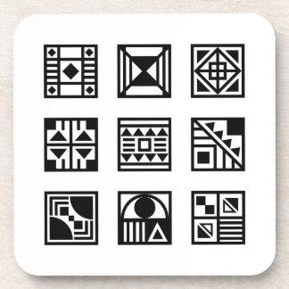 Black geometrical tribal pattern coaster