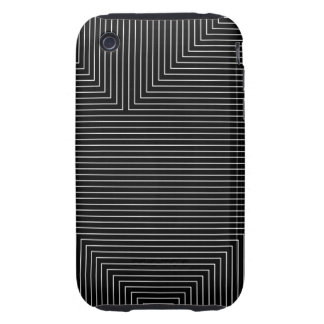 black geometry white lines minimal abstract iPhone 3 tough case